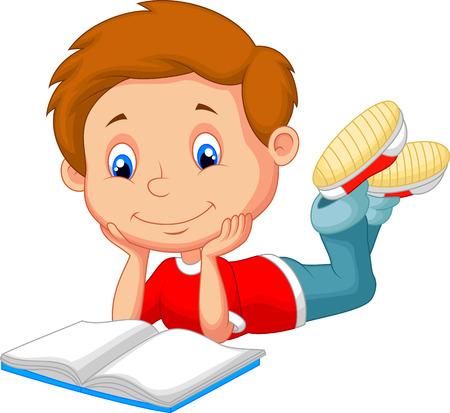 children story: Cute boy cartoon reading book