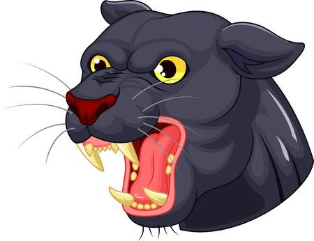 smirk: Black panther head mascot cartoon