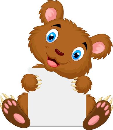 brown: Cute brown bear cartoon holding blank sign
