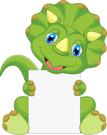 Cute dinosaur cartoon holding blank sign  Иллюстрация