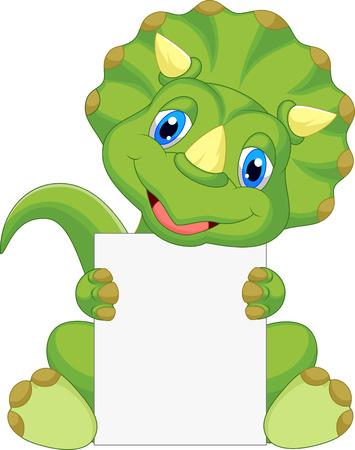 dinosaur: Historieta del dinosaurio lindo con signo en blanco