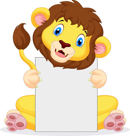 Lion cartoon holding blank sign  Vector