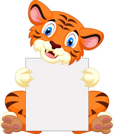 tigre cachorro: Lindo tigre de dibujos animados la celebración de firmar en blanco Vectores
