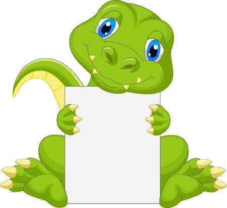 Dessin animé mignon dinosaure tenant une pancarte blanche Banque d'images - 23848488