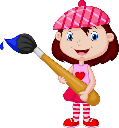 Little girl cartoon is painting with paintbrush  Vector