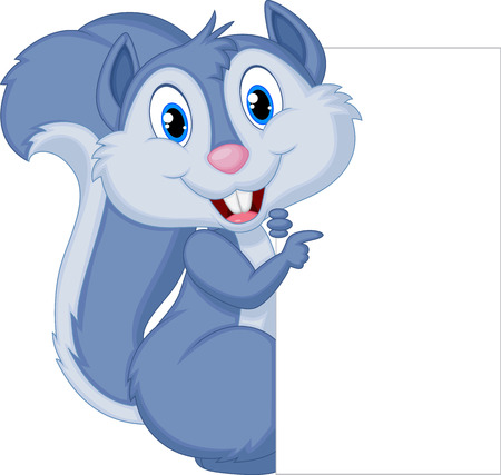 Cute squirrel cartoon holding blank sign  Vector
