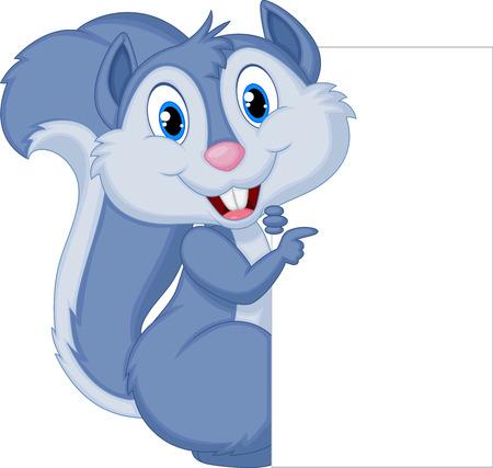 cheerful cartoon: Historieta de la ardilla linda que sostiene la muestra en blanco
