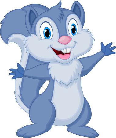 Leuke eekhoorn cartoon poseren Stock Illustratie