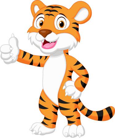 houtsoorten: Schattige tijger cartoon duim opgeeft