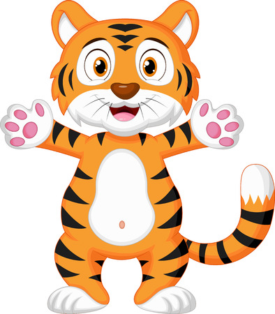 standing: Cute baby tiger cartoon
