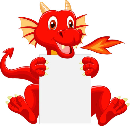 the red dragon: Cute dragon cartoon holding blank sign