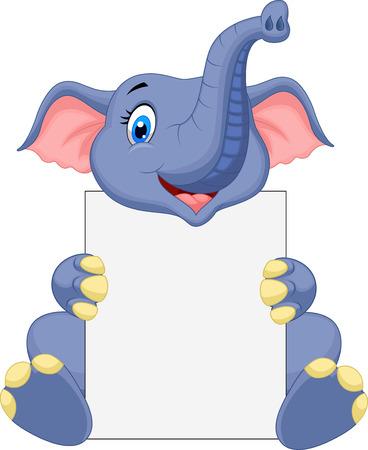 sign blank: Cute elephant cartoon holding blank sign