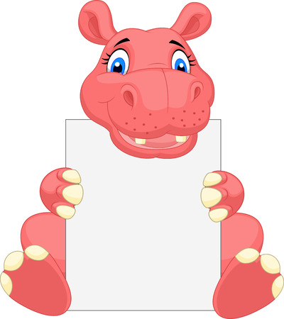welcome smile: Cute hippo cartoon holding blank sign