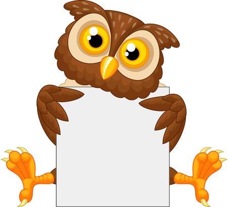Bande dessinée mignonne de hibou retenant le signe blanc Banque d'images - 23825998