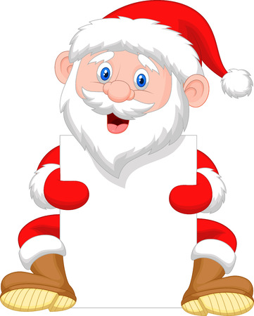 santa clause: Santa Clause cartoon holding blank sign