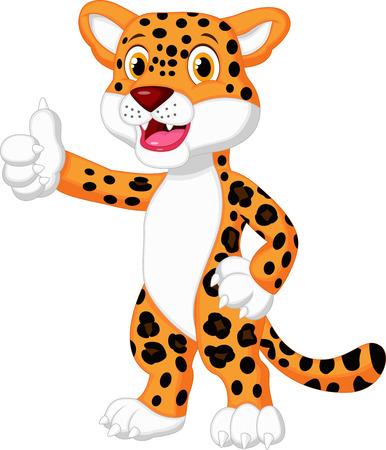 houtsoorten: Leuke luipaard cartoon duim opgeeft Stock Illustratie