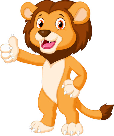Cute lion cartoon giving thumb up