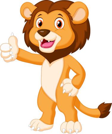 Słodkie lew kreskówka dając kciuk w górę
