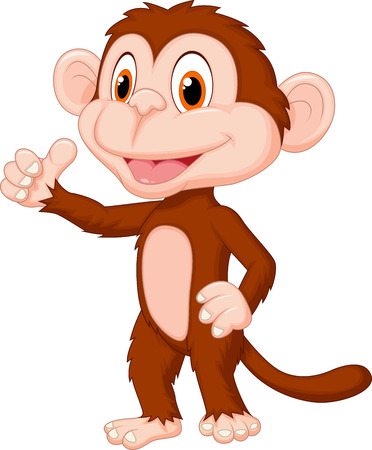 mischievous: Cute monkey cartoon giving thumb up