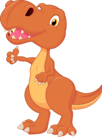 Cute dinosaur cartoon giving thumb up  Vector