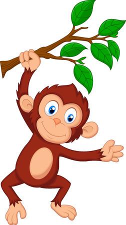 ぶら下がっているかわいい猿の漫画