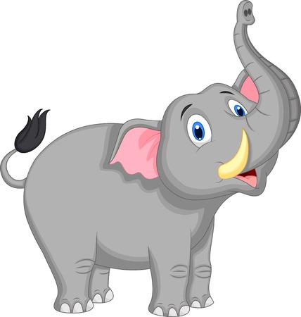 かわいい象の漫画  イラスト・ベクター素材