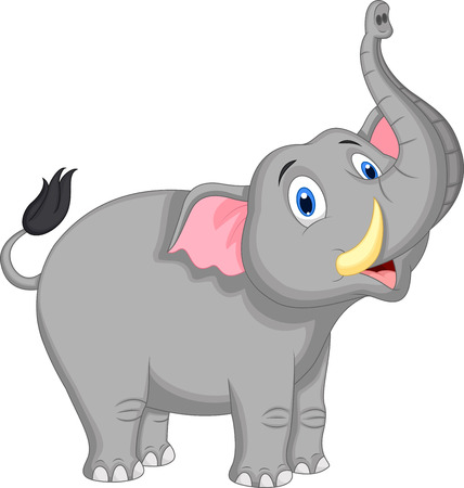elephant trunk: Cute elephant cartoon