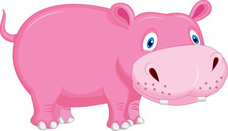 Cute hippo cartoon  Vector