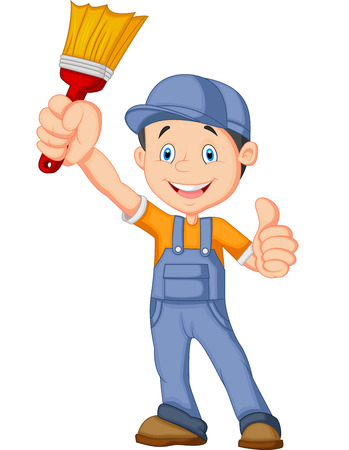 cartoon painter: Cartoon painter giving thumb up