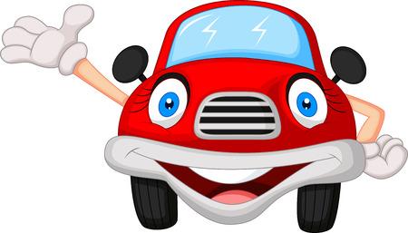 soins mains: Caract�re mignon de bande dessin�e de voiture rouge