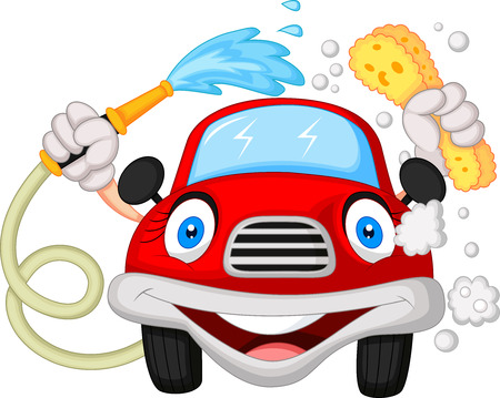 car clean: Cartoon car washing with water pipe and sponge