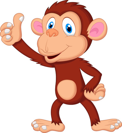 Cute monkey cartoon giving thumb up  Vector