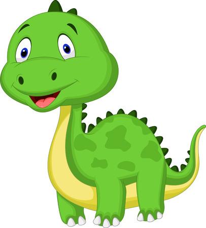 freaky: Cute green dinosaur cartoon  Illustration