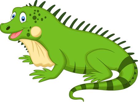 jaszczurka: Śliczne iguana kreskówki Ilustracja