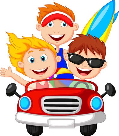 luxury travel: Cartoon hombre joven y una mujer que se divierten conduciendo su coche en un viaje por carretera Vectores