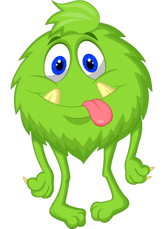Hairy green monster cartoon  Vector