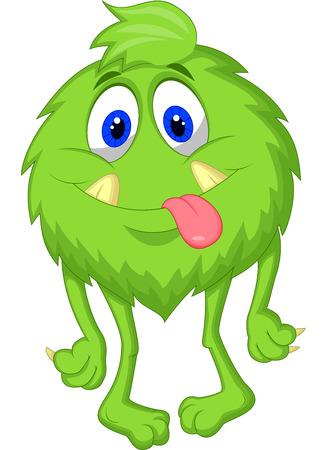 Hairy verde de dibujos animados monstruo Ilustración de vector