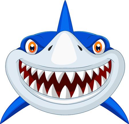 mer ocean: bande dessin�e de la t�te de requin Illustration