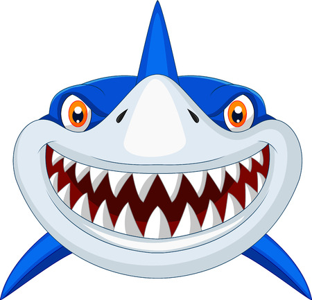 aquatic animal: Shark head cartoon