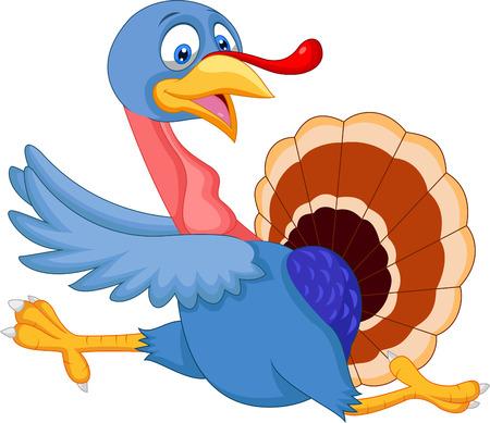 strut: Cartoon turkey running