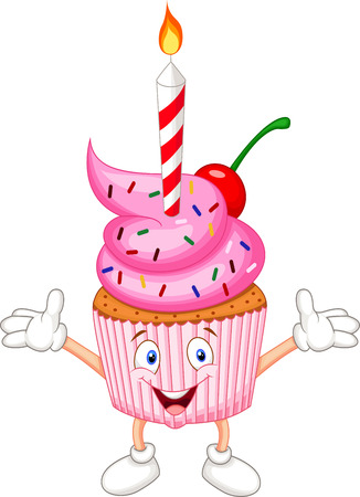 cartoon food: Cup cake cartoon with candle  Illustration
