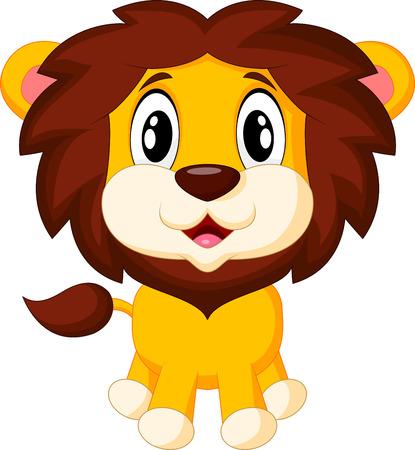 Lindo león de la historieta Ilustración de vector