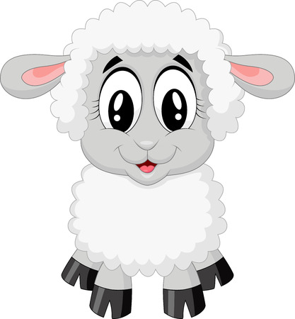 Cute sheep cartoon  Ilustracja