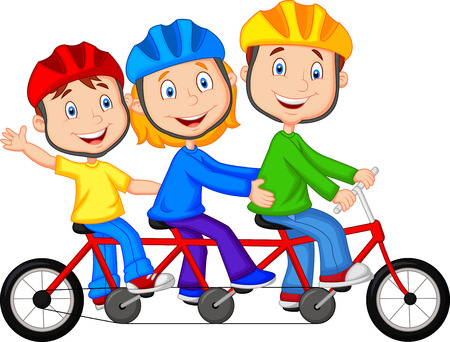 Happy family cartoon riding triple bicycle