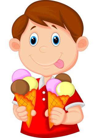 eating food: Ragazzino cartone animato con il gelato