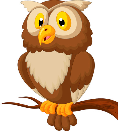 prey: Cute owl cartoon  Illustration