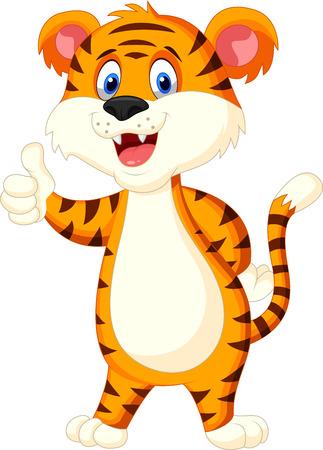 tigresa: Lindo tigre de dibujos animados pulgar