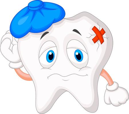 chateado: Caricatura dente doente Ilustra��o