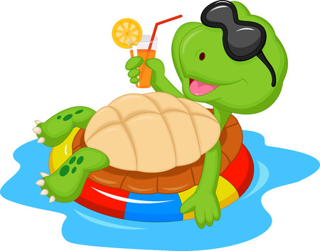 thirsty: Cute turtle cartoon on inflatable round  Illustration