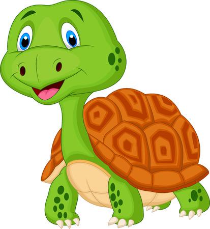 green turtle: Carino cartone animato tartaruga Vettoriali